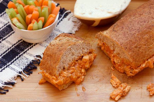 Buffalo Chicken Sloppy Sandwiches (and 3 variations) - feed the entire offensive line with these monster sammies | cupcakesandkalechips.com | #sandwich #tailgate #football #tailgaterecipes #buffalochicken