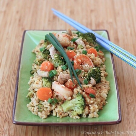 Cauliflower Fried Rice | cupcakesandkalechips.com | side dish | healthy recipes | vegetarian | gluten free | cauliflower