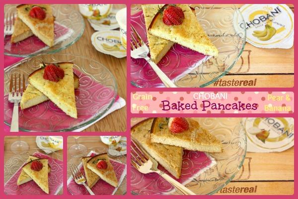 Grain Free Chobani Pear and Banana Baked Pancakes