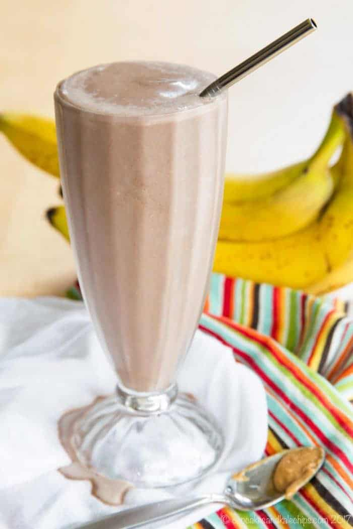 Funky Monkey Healthy Chocolate Peanut Butter Banana Smoothie is a protein-packed, rich and satisfying breakfast, snack, or even dessert!