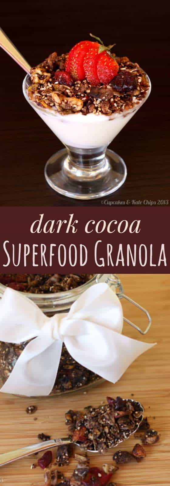 Dark Cocoa Superfood Granola - chocolate for breakfast is good for you when add it to a healthy recipe filled with nuts, oats, quinoa, flax seeds and more! | cupcakesandkalechips.com
