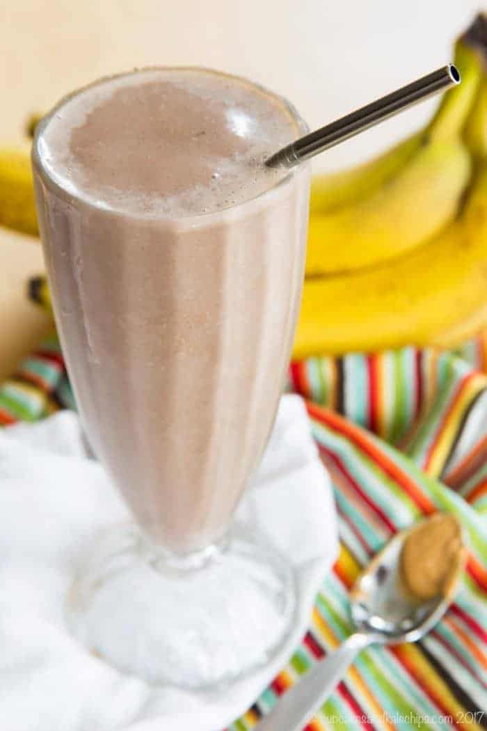 Chocolate Peanut Butter Banana Smoothie in a tall glass