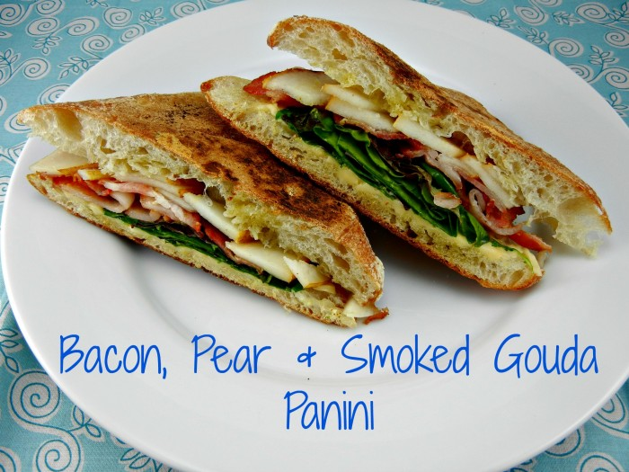 Bacon, Pear & Smoked Gouda Panini. Recipe by The Tasty Fork