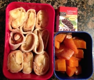 Banana Peanut Butter Rollup Carrots and raisins 3-13-13