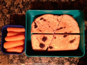 Basil Balsamic Strawberries and Whipped Feta Grilled Cheese and carrots