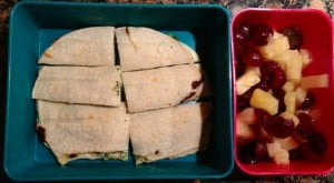 Broc cheese quesadilla fruit Wed 3-6