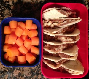 Chocolate Peanurt Butter Cookie Dough and chopped apples on tortilla and carrots 3-18-13