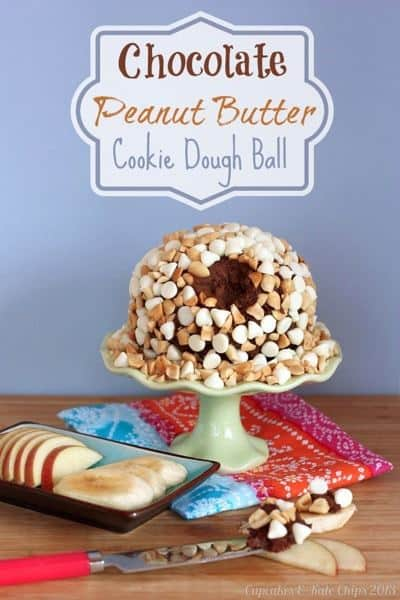 Chocolate Peanut Butter Cookie Dough Ball - this indulgent treat is actually healthy and packed with protein and fiber because of a secret ingredient that makes it gluten free and grain free. You can easily make it vegan too! | cupcakesandkalechips.com