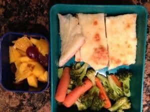 Leftover pizza broccoli and fruit