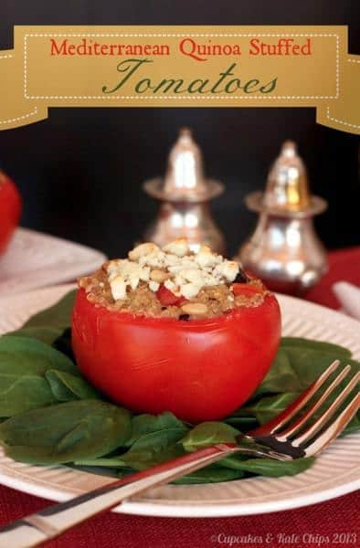 Mediterranean Quinoa Stuffed Tomatoes Cupcakes and Kale Chips
