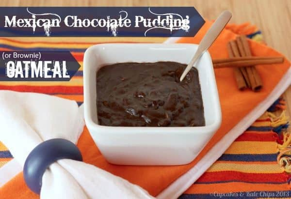 Mexican Chocolate Pudding (or Brownie) Oatmeal - a healthy but decadent breakfast with a creamy texture, chocolaty flavor & the kick of spices | cupcakesandkalechips.com #oatmeal #chocolate #breakfast #glutenfree #vegan