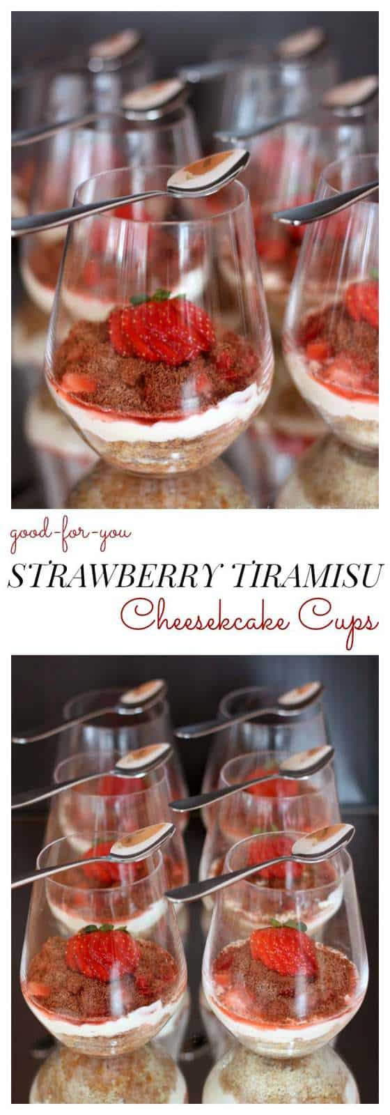 No-Bake Strawberry Tiramisu Cheesecake Cups - a healthy dessert tastes indulgent. Grain free, gluten free, and make with Greek yogurt! | cupcakesandkalechips.com