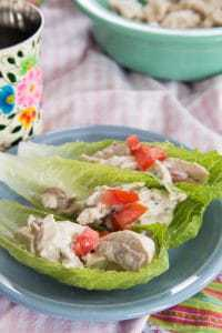 Healthy Chicken Salad on lettuce wraps