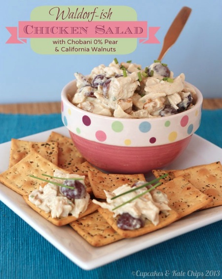Waldorf-ish Chicken Salad (made with Greek yogurt) | cupcakesandkalechips.com | #chickensalad #lunch #glutenfree #greekyogurt