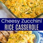 zucchini casserole in a baking dish and served on a blue plate with chicken