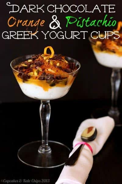 Dark Chocolate, Orange & Pistachio Greek Yogurt Cups | cupcakesandkalechips.com #greekyogurt #chocolate