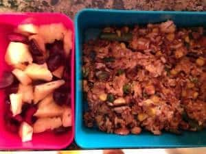 Fried rice with egg and leftover veggies, fruit salad