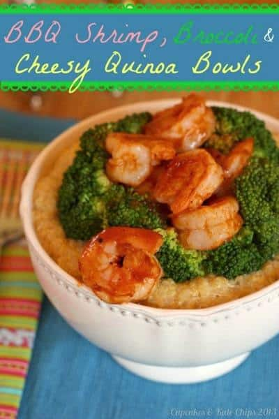 BBQ Shrimp, Broccoli & Cheesy Quinoa Bowls - simple, fast, versatile and satisfying dinner for busy weeknights   cupcakesandkalechips.com #weekdaysupper #quinoa #shrimp #glutenfree