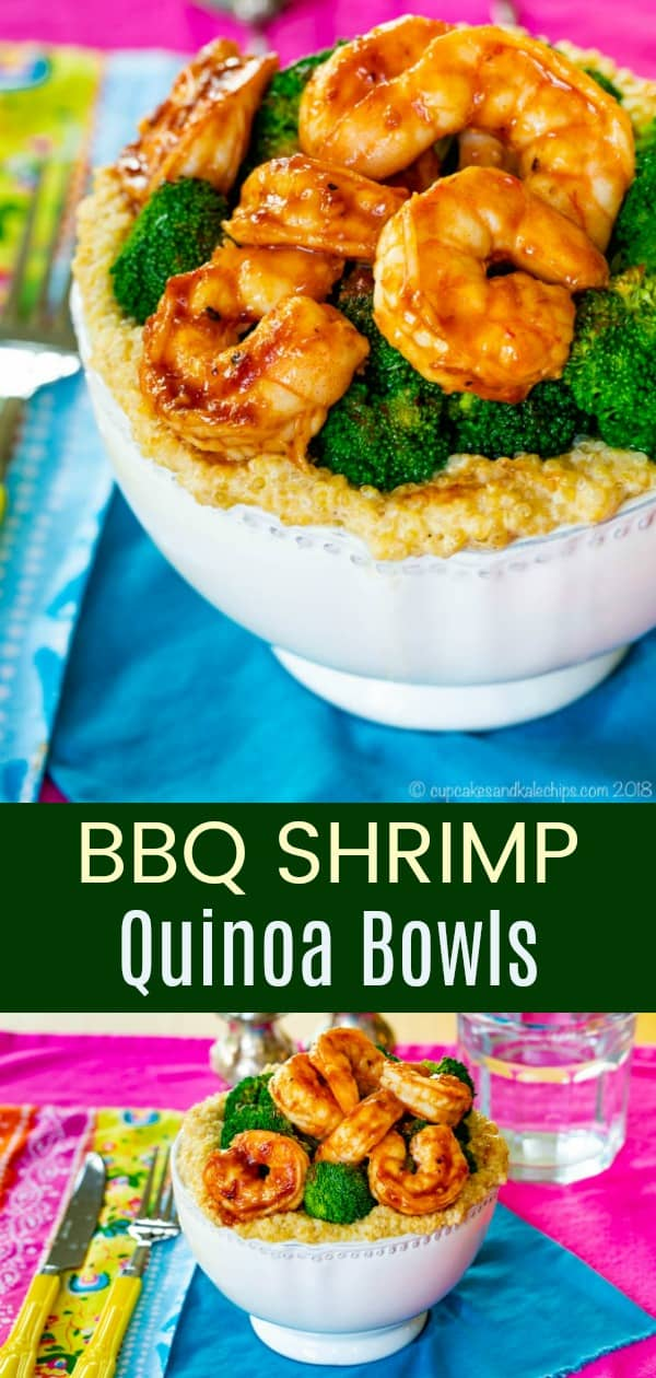 BBQ Shrimp Quinoa Bowls Pinterest Collage