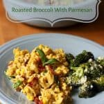 This dinner plate is filled with pesto pasta, corn, and bacon and served with parmesan broccoli.