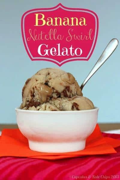 Banana Nutella Swirl Gelato - soft gelato packed with banana flavor and swirled with Nutella goodness   cupcakesandkalechips.com #gelato #icecream #gelato #banana