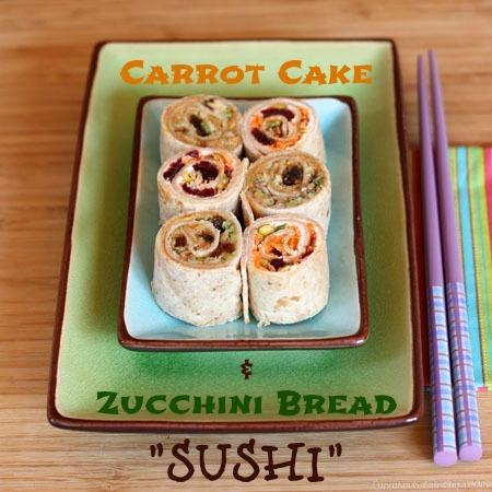 Carrot Cake & Zucchini Bread Sushi - fun takeout fakeout for your kids' lunchbox with endless options | cupcakesandkalechips.com #lunchbox #sandwich