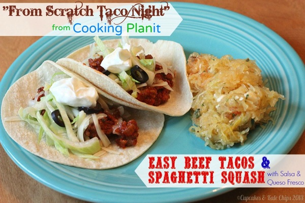 Easy Beef Tacos and Spaghetti Squash with Salsa & Queso Fresco - forget the seasoning packet for your next taco night | cupcakesandkalechips.com #cookingplanit #tacotuesday #tacos #glutenfree