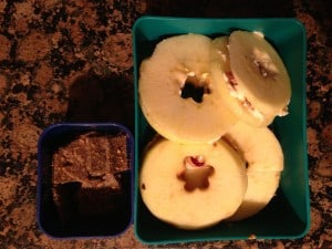 """Apple """"Donuts"""" and gluten free cheddar crackers"""