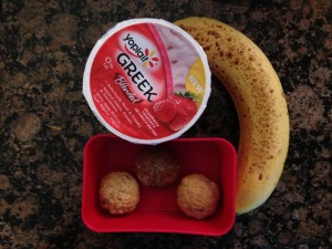 Yoplait Greek Strawberry Raspberry, whole wheat mini muffins, banana