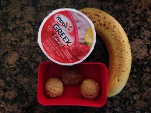 Yoplait Greek Strawberry Raspberry, whole wheat mini muffins, banana