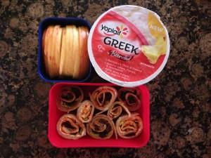 Carrot Cake and Zucchini Bread Sushi, Yoplait Greek Pineapple, Apple
