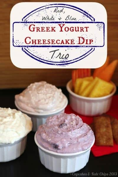 Red, White & Blue Greek Yogurt Cheesecake Dip Trio - just a couple ingredients and a few minutes to make a tasty & light sweet treat | cupcakesandkalechips.com #greekyogurt #cheesecake #dessert #dip