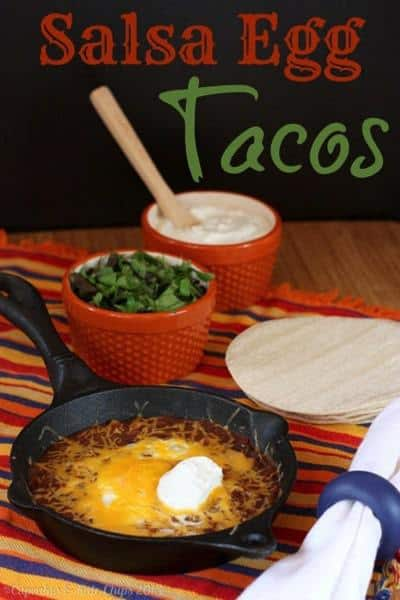 Salsa egg tacos are a gluten-free breakfast recipe that everyone in the family will love. They would make a fun and easy gluten-free Cinco de Mayo food option, too! | CupcakesAndKaleChips.com | eggs | salsa | breakfast | back to school