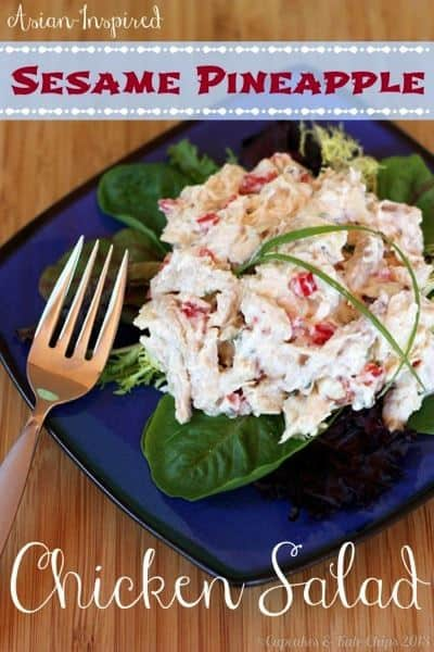 Asian-Inspired Sesame Pineapple Chicken Salad - made with Greek yogurt, packed with protein, flavor & crunch for and easy weekday lunch or dinner | cupcakesandkalechips.com | #chickensalad #greekyogurt #glutenfree