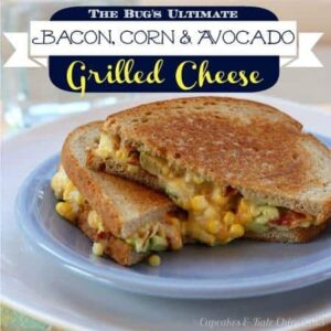 This bacon grilled cheese is filled with avocado and corn - so easy to make and kid-friendly!
