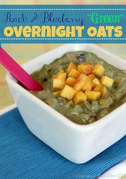 "Peach & Blueberry ""Green"" Overnight Oats - combine the convenience of overnight oats and the health benefits of green smoothies 