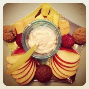 Breakfast fruit and muffins