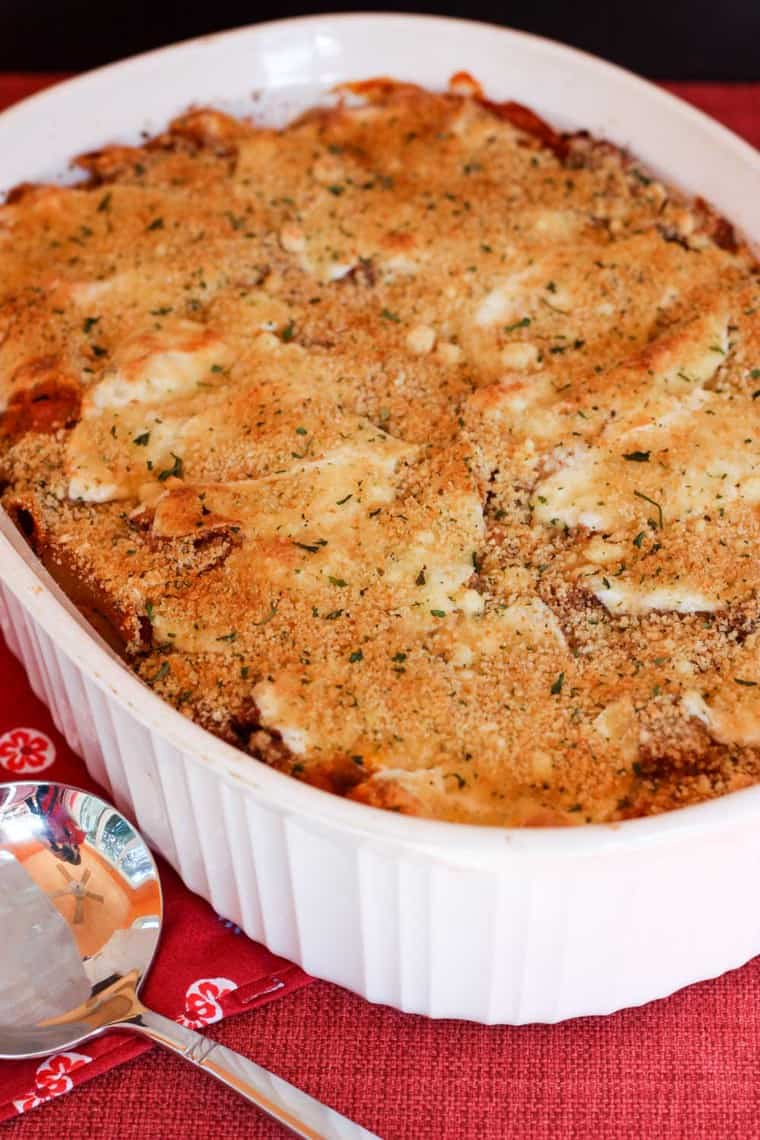 Baked Eggplant Pasta Recipe in a casserole dish