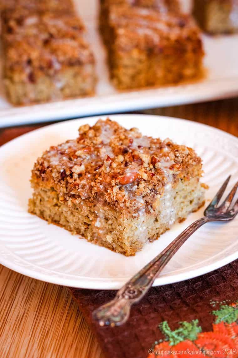 Piece of Gluten Free Pumpkin Coffee Cake on a plate