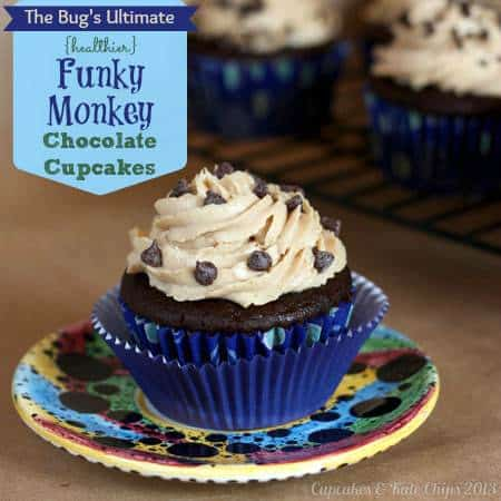 The Bug's Ultimate {Healthier} Funky Monkey Chocolate Cupcakes | cupcakesandkalechips.com | #cupcakes #peanutbutter #chocolate