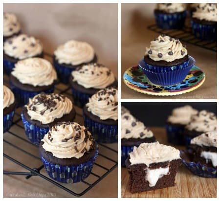 The Bug's Ultimate {Healthier} Funky Monkey Chocolate Cupcakes   cupcakesandkalechips.com   #cupcakes #peanutbutter #chocolate