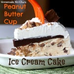 Only seven ingredients and no machine needed for this peanut butter cup no-churn ice cream cake recipe! Topped with chocolate ganache and whipped cream.