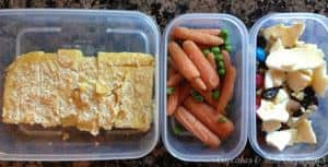 What's in the #Lunchbox Wednesday | cupcakesandkalechips.com | Leftover polenta, peas & carrots, trail mix (with Brothers-ALL-Natural Apple Crisps, raisins, nuts, and a couple M&M's)