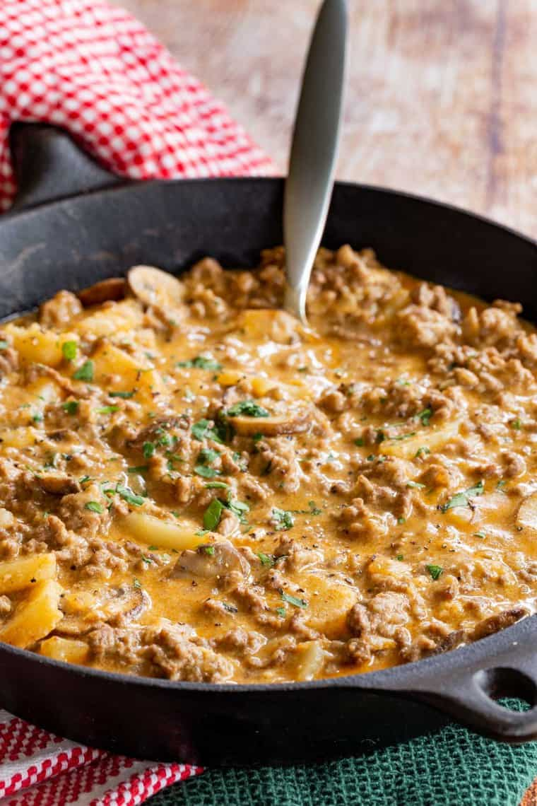 One Pan Ground Beef and Potatoes Recipe in a Cast Iron Skillet