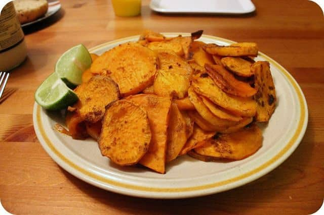 Chili-Lime Sweet Potato Home Fries on a plate