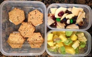 What's in the #Lunchbox Wednesday | cupcakesandkalechips.com | Gluten free crackers with cream cheese, pineapple & avocado, trail mix (with Brothers-ALL-Natural Apple Crisps, raisins, nuts, and a couple M&M's)