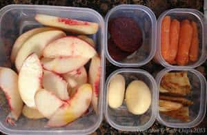 What's in the #Lunchbox Wednesday | cupcakesandkalechips.com | Sliced peach, Babybel cheese, leftover oven fries, carrots, whole wheat chocolate graham crackers