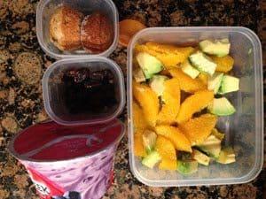 Yoplait Greek Blueberry, Mini Muffins, Raisins, Avocado and Orange