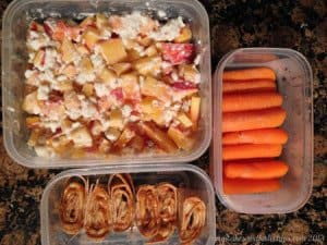 Peanut Butter and Banana Rollup, Steamed Carrots, Peaches and Cottage Cheese