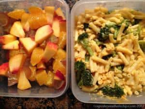 Leftover Annies Mac and Cheese with Broccoli, Tangerine, Peach and Grapes